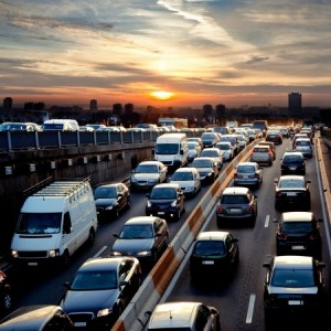 16924862 - late afternoon traffic  traffic jam  cars  urban scene